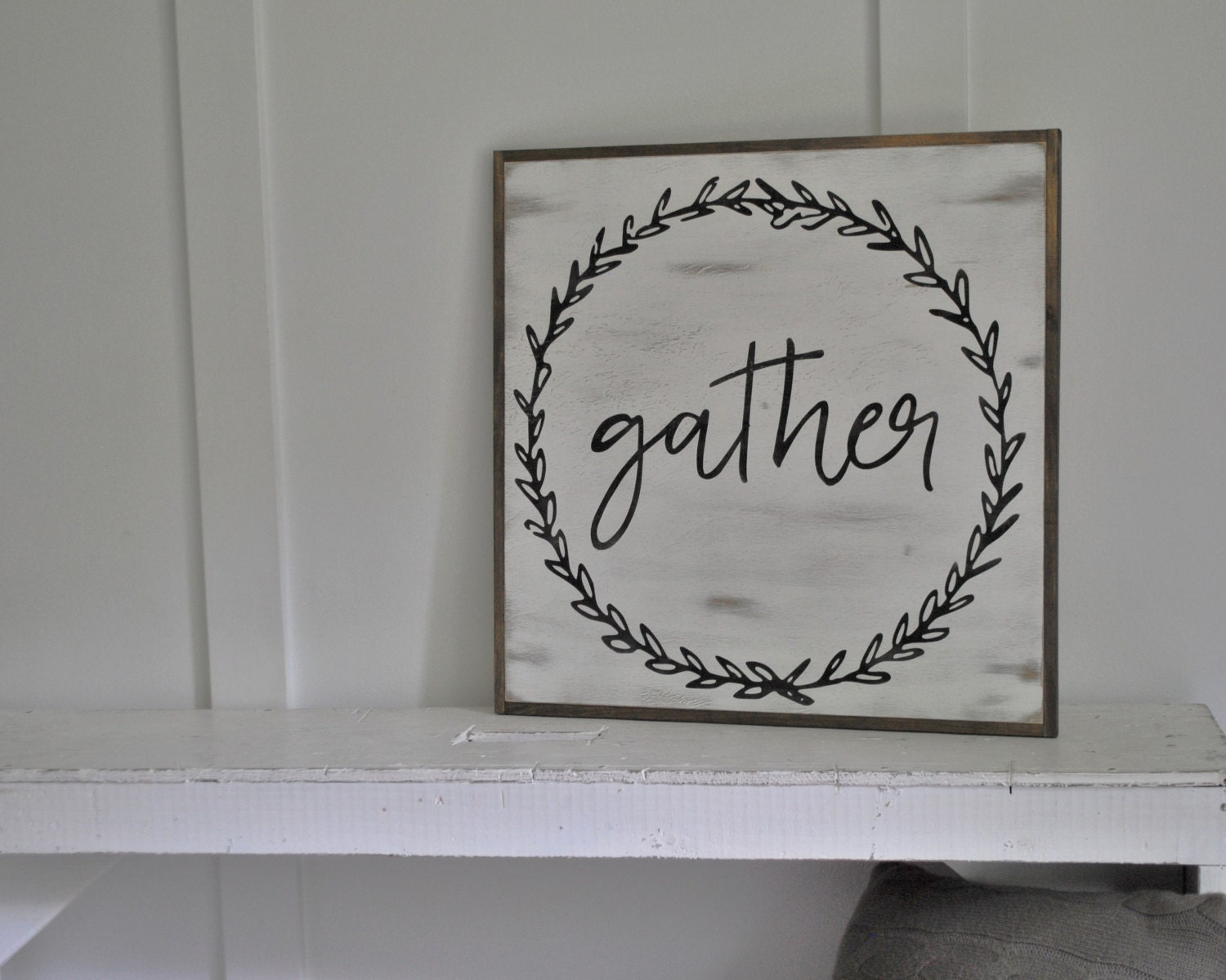 Gather 2 39 x2 39 sign distressed shabby chic painted wooden for Room decor signs