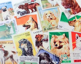 Vintage Dog Postage Stamps Set of 20 Canine Purebreeds - All Different Altered Art Collage Paper Supplies Lot Vintage Ephemera Scrapbooking