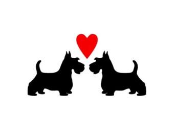 DECAL: Two Scottie Dogs - Scottish terrier - Scotties
