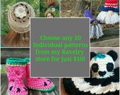 10 Pack of Digital Crochet Patterns