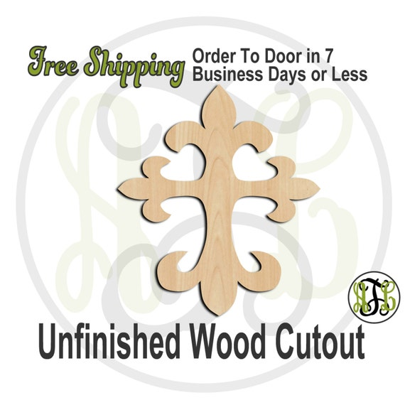 Cross 2 - 29002- Cutout, unfinished, wood cutout, wood craft, laser cut shape, wood cut out, Door Hanger, wooden, ready to paint