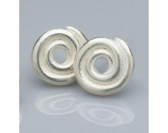 Sterling silver spiral post/stud earrings - medium sized