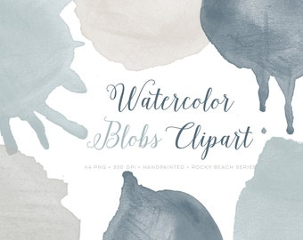 Watercolor Clipart Blobs Drips and Circles. Hand Painted Watercolour graphics clip art. High resolution PNG instant download images.