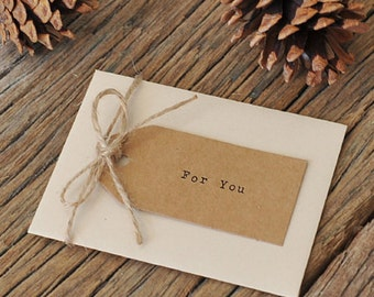 30 x Gift Tags with Strings / Kraft Tags & Jute Strings / Plain
