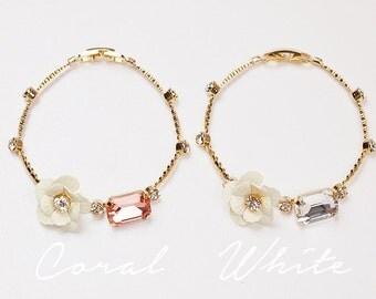 Flower Charm Bracelets,Rhinestone Bracelet,Flower Bangle,Tiny Rhinestone Bracelet,Feminine Style Bracelet,Layered Bracelet,Anniversary Gift