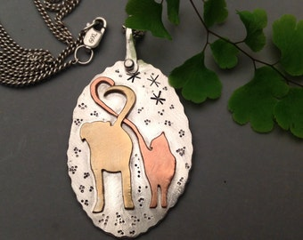 Dog and Cat Necklace - Mixed Metal Jewelry