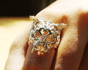 Silver Zodiac Tiger Ring, Chinese Astrology, Chinese Zodiac Ring, Macan Ring