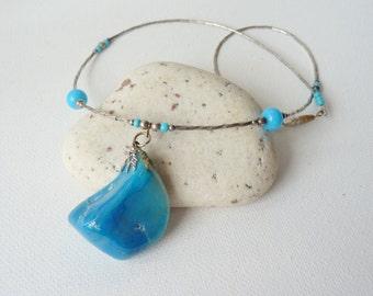 SALE, Liquid Silver Blue Onyx Pendant Necklace Vintage Southwestern Blue Necklace, Boho Blue Necklace, Onyx Pendant Necklace, Native Jewelry