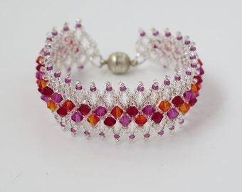 Swarovski crystal bracelet, Red crystal bracelet, Swarovski bracelet, Red beaded bracelet, Seed bead bracelet, Crystal bead bracelet