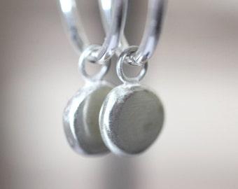 Silver Pebble Earrings, Silver Drop Earrings, hoop earrings, silver nugget, silver pebble, nugget earrings