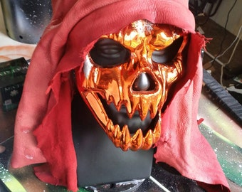 Red leather pleated hood
