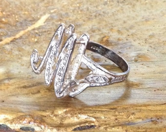Sterling Silver - Letter M Initial 4.8g - Ring (7.25)