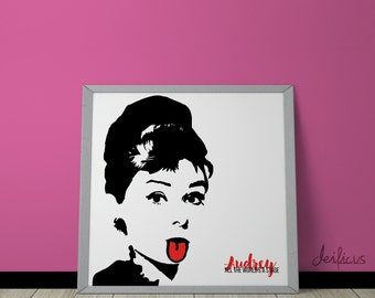 Audrey Hepburn Digital Art Print - Inspirational Wall Art, Printable Art, Funny Poster Art, Canvas Art, Instant Digital Download