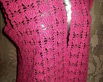 Hand made crochet pink sleeveless cardigan
