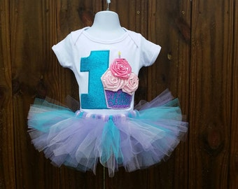 custom personalized flower cupcake tutu birthday outfit