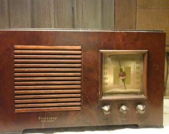 Vintage Working Firestone Air Chief Radio, Wooden Firestone Radio ,Old Radio, 1940s Tube Radio, Photo Prop.,