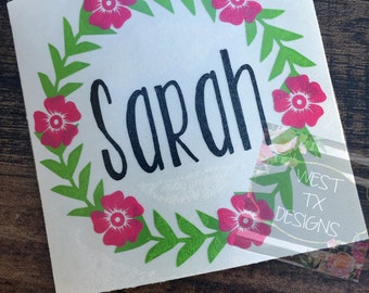 Wreath Personalized Decal | Flower Decal | Laurel Wreath | Yeti Tumbler Decal | Wreath Monogram | Vinyl Decal | Personalized Flower Decal