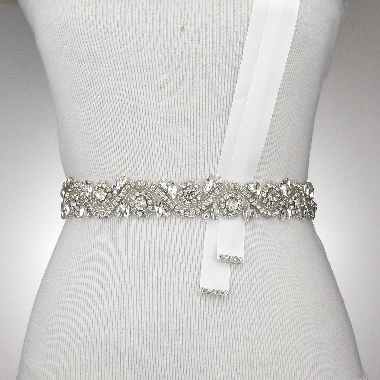 Crystal rhinestone belt wedding dress sash rhinestone crystal for Rhinestone belts for wedding dresses