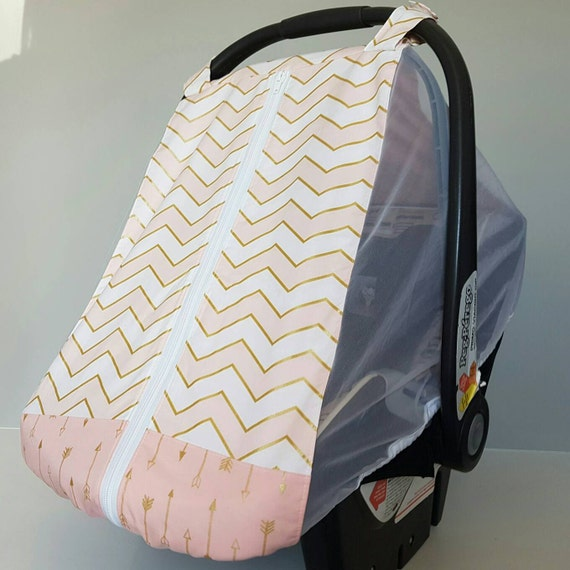 fitted car seat cover for spring summer pink chevron and. Black Bedroom Furniture Sets. Home Design Ideas