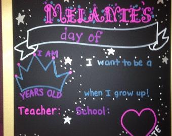 Princess 1st Day of School/first/last day of school chalkboard/resuable chalkboard