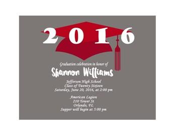 Graduation Party Invites - Graduation Invitation Cards - Printable Graduation Cards - Red Tassel - Gray and Red - School Graduation  393