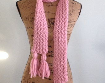 Loom Knit Scarf with Tassels