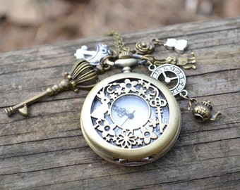 Alice in wonderland Pocket Watch Necklace,Big locket watch pendant necklace, with key mushroom cheshire cat clock tea pot charms necklace