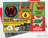 Super Hero Invitations INSTANT DOWNLOAD Superhero Invites Personalize Birthday Bash Party Fun Editable Girls Boys Man Comic Book Printable