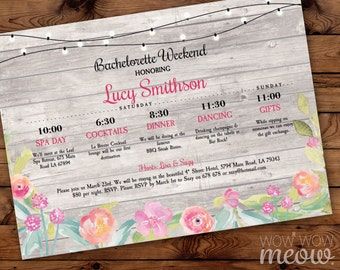 Bridal Shower Weekend Invitations Bachelorette Itinerary Invite Girls Night Planner INSTANT DOWNLOAD Coral Flowers Floral Editable Printable