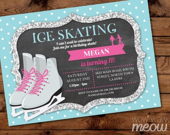 Ice Skating Invitation Skate Birthday Party INSTANT DOWNLOAD Silver Glitter Invite Ice  Girls Any Age Personalise Digital Editable Printable