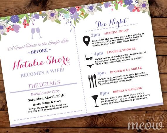 bridal shower itinerary invite party invitation bachelorette
