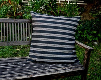 Black Linen Stripe Pillow Sham