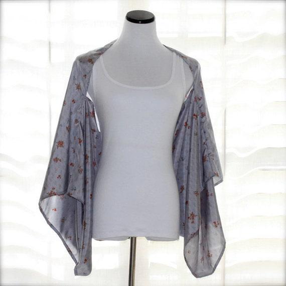 Light Silver Kimono Shrug Lightweight Floral Print Cardigan