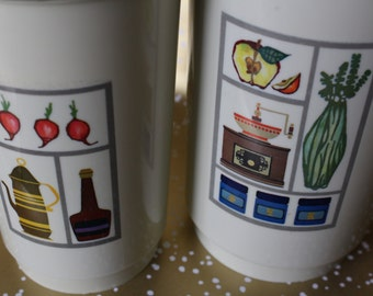 Set of 2 Vintage 1970's Canisters With Lids - Pair Retro Containers Jars Plastic Vegetable Kitchen Decor Storage Kitschy Mid-Century