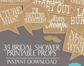 35 Rustic Bridal Shower printable props Photo Booth, Burlap vintage, Printable photobooth boho chic bridal props, Bachelorette party, hen do