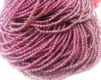 2 mm , Garnet Smooth , 14 inches