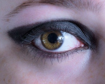 """Black eye shadow in """"Mourning""""- all natural, vegan eyeshadow, cruelty-free, mineral makeup."""