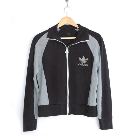 Adidas ladies dark and light grey track top
