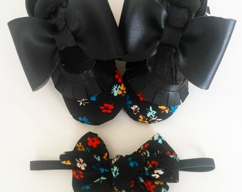 black floral mary janes