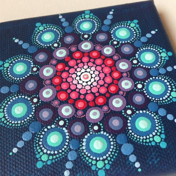 original dot art mandala on canvas board painting purple and. Black Bedroom Furniture Sets. Home Design Ideas