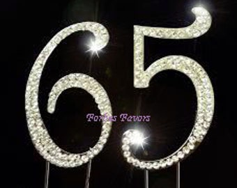 Large Sparkling Silver Rhinestone 65th - 56th Happy Birthday Cake Topper by Forbes Favors