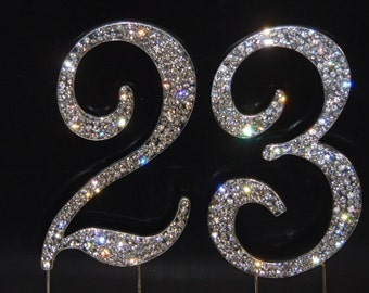 Large Sparkling Silver Rhinestone 23rd - 32nd Happy Birthday Cake Topper by Forbes Favors