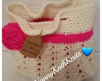 Shabby Chic Handmade Knitted Tote Bag