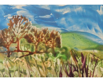 "Encaustic paints  ""Trees on a Hillside"" Greeting Cards 5""x7"" Single cards SALE"