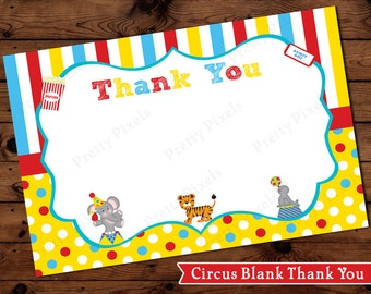Carnival Circus Thank You Card Cards Instant Download Stripes Polka Dots