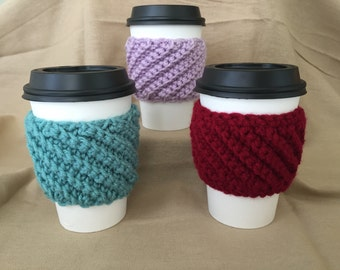 Ribbed Handmade Crochet Coffee Cup Cozy