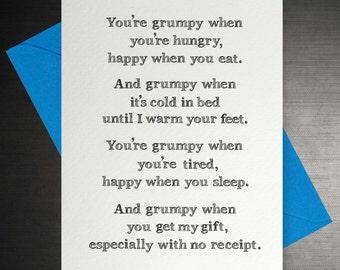 Grumpy Funny Poem Card