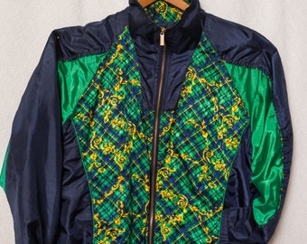 80s Windbreaker, 80s Green Checkaged Silk Windbreaker, Silk Snob Windbreaker, Snob Tennis Windbreaker, 80s Tennis Jacket, Posh Windbreaker