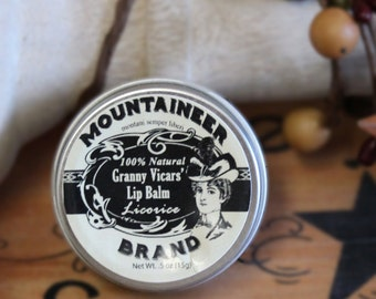 Natural Lip Balm: 4 Flavor Options. Healing, Soothing, Emollient and Nourishing. Granny Vicars from Mountaineer Brand. Natural Beeswax