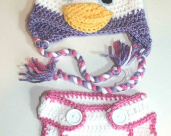 Hand Made Daisy Duck Inspired Hat and Diaper Cover Set